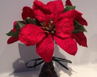 Winter Floral Decor / Poinsettia Arrangement / Wedding Centerpiece / Christmas Decor-Red