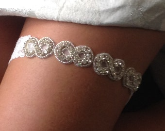 Bridal Garter Crystals with strechy Lace