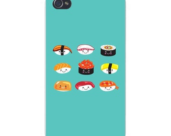 Apple iPhone Custom Case White Plastic Snap on - Cute Sushi Boy Cartoon w/ Different Dress 6675