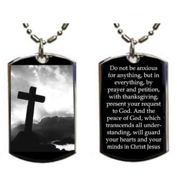 Christian Jesus Cross Philippians 4 6 7 Pendant Double Sided