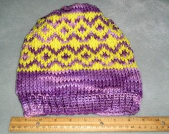 Purple and Bright Yellow Fair Isle Hat