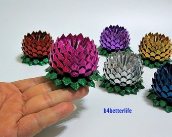 Lot of 6pcs Size SMALL Origami Lotus In 6 Different Colors. (4d Glittering Paper Series). #FLT-111.