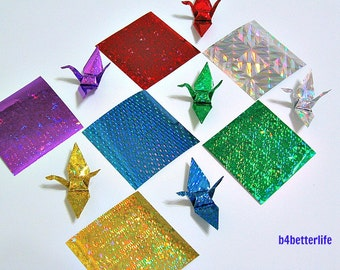 "120 sheets 4D Glittering Paper Kit for Origami Cranes, 2.3"" x 2.3"". (4D Glittering paper series)."