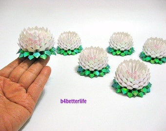 Lot of 6pcs White Color Small Size Origami Lotus. (TX paper series).