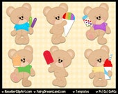 Summer Treat Bears Templates, Layered Psd - Commercial Use - Instant Download - Cu4Cu Photoshop CS & Elements - Popsicle, Ice Cream, Sweets