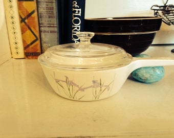 Vintage 1980s Corning Ware Shadow Iris .5L Pot with Lid