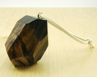 Faceted Wood Ornament   Dark Walnut