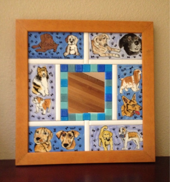 A Whole Lotta Dogs Ceramic Tile Mirror
