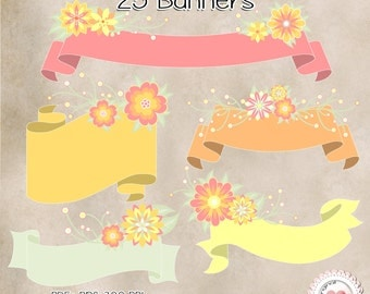 """25 Floral banners - 24 PNG (clipart)  -  transparent background - High quality - 6"""" to 12"""" / 576 to 1152px . 300 PPI Freebies Minimum price"""