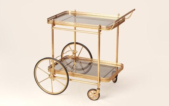 60s Brass Glass Big Wheel Bar Cart Mid Century Gold Plated