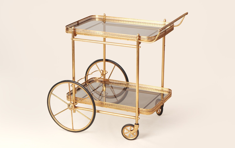 60s brass glass big wheel bar cart mid century gold plated. Black Bedroom Furniture Sets. Home Design Ideas