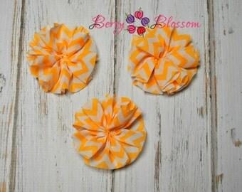 "Orange Chiffon Chevron 3"" Flower - Set of 3 - chiffon ballerina flowers - chevron twirl flowers"