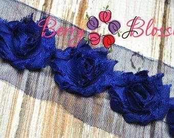 "1.5"" Royal Blue Petite Shabby Flower - baby frayed shabby rose trim - little solid flowers - small shabby"
