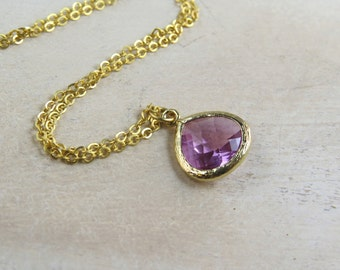 Lavender glass drop, matte gold necklace, charm necklace, bridesmaid gift, personalized necklace