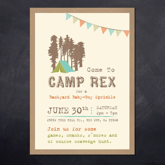 Camping Theme Invitations: Custom DIY Vintage Rustic Camping Themed By BlissfulPrints