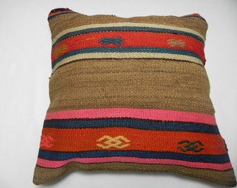 "kilim, pillows, kilim pillow, coverscushion, cover, accent pillow, Turkish Kilim Pillow Cover,16""x16"",Decorative Kilim Pillow,Kilim,"