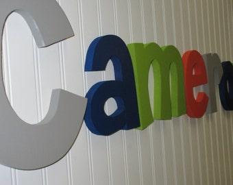 Hanging nursery letters, nursery letters, baby boy nursery letters, green, navy blue, orange, gray, nursery wall letters