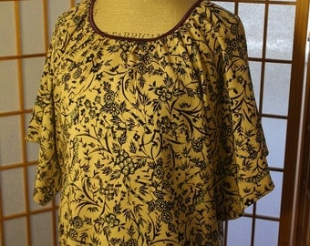 Japanese Blue Flower Print Blouse