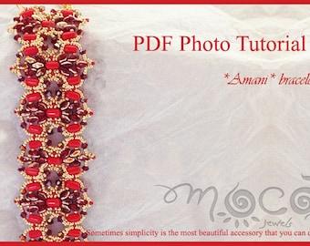 Photo Tutorial ENG - ITA,DIY Bracelet,*Amani* PDf Pattern 16 superduo,rulla beads,swarovski