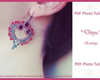 Photo Tutorial ENG-Ita  ,DIY Earrings,*Divya* earrings ,PDf Pattern 40 with swarovski,beads,cabochon,