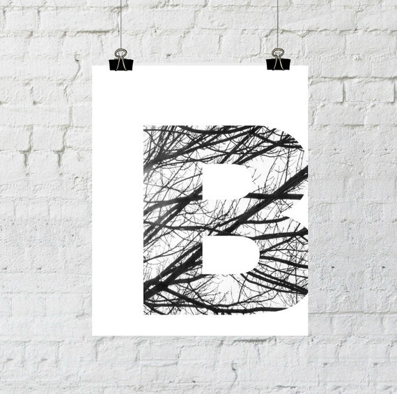 "Black & White Letter ""B"" Tree Branch Art Print. 8x10 Typographic Home Decor. Instant Digital Download Printable Wall Art-ADOPTION FUNDRAISER"