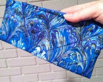 Swirled blue print wristlet