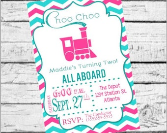 Choo Choo Turning Two Girl's Train Birthday Party Invitation, Digital File, Pink & Blue Chevron, ALL ABOARD