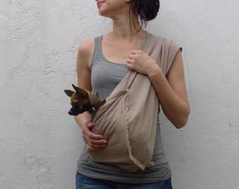 Dog sling SMALL linen sand color