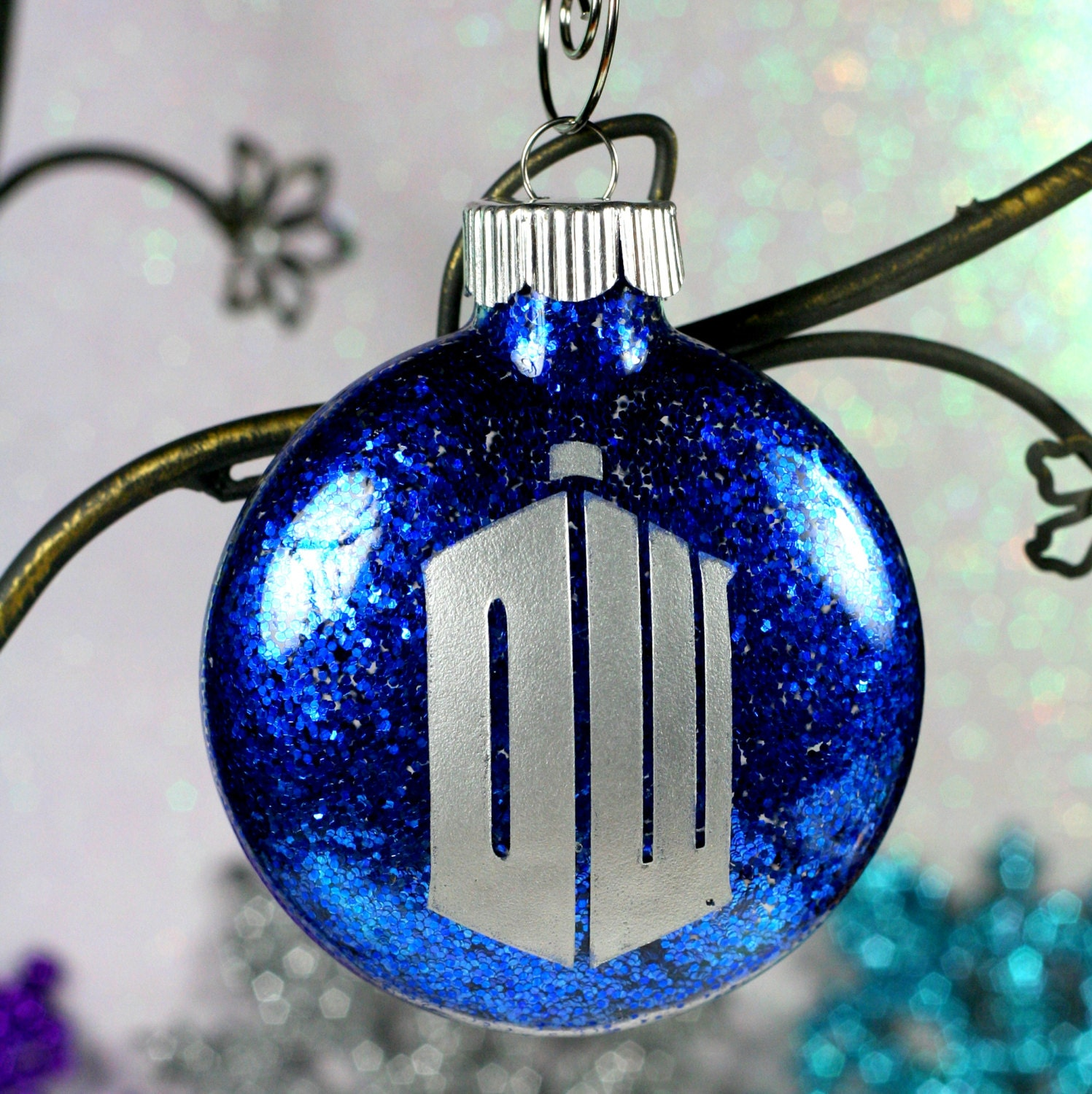 Doctor Who Christmas Ornament DW Tardis with Blue Glitter