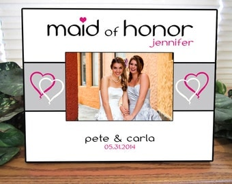 Maid of Honor Gift, Matron of Honor Gift, Personalized Picture Frame - bridesmaid gift, flower girl gift