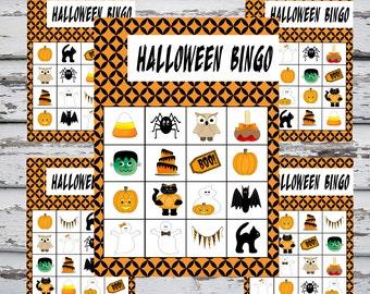 printable halloween bingo instant download 20 bingo cards halloween game school party - Free Printable Halloween Bingo Game Cards