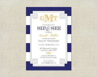 Blue Baby Boy Monogrammed Sip and See Invitation / Blue Navy Grey / Stripe / monogram / Sprinkle Shower / Sip and See / Printable