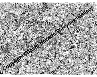 4. Instant PDF Download Hand Drawn Zentangle Inspired 'Mindjunk' Coloring Colouring Page Abstract Zendoodle Black and White Drawing