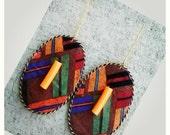 Brown & Multicolored stripped African print dangler earrings