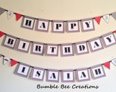 Banner - Happy Birthday Banner - Party Banner - Baby Shower Banner - Race Car Red and Black Theme