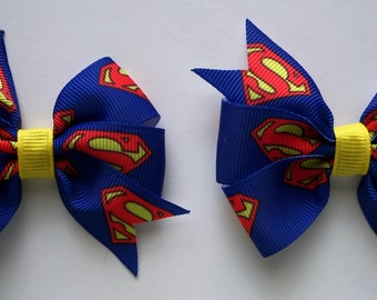 Superman Superhero Bow Set of 2