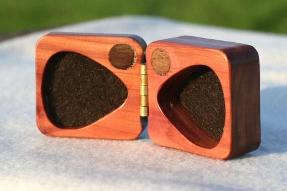 wooden guitar pick box personalized ooak red cedar wood by debandf. Black Bedroom Furniture Sets. Home Design Ideas