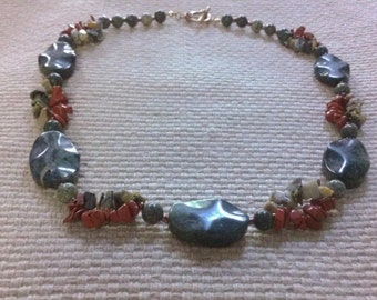 Franconia: matinee length stone bead necklace featuring red & moss jasper, marble, and russian jade