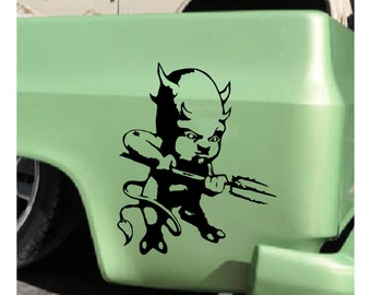 Devil Demon Decal sticker wall art car graphics room decor zombie emo goth gothic metal AA63