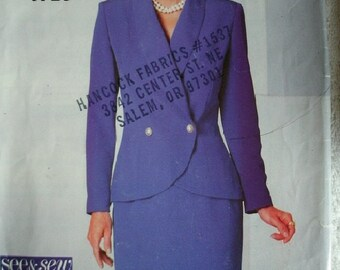 Misses Jacket and Skirt Size 6-8-10 See & Sew by Butterick Pattern 4715 Rated Very EASY to Sew - Uncut Pattern 1996