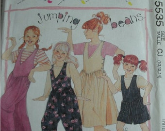 Girls Jumpsuits in 3 Lengths, Jumper and T-Shirt Girls Sizes 10-12-14 EASY McCalls Jumping Beans Pattern 5535 Learn To Sew For Fun UNCUT