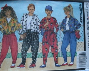 Girls and Boys Jacket, Top and Pants Size 7-8-10 Butterick Busybodies Fast & Easy Pattern 5668  Very Easy to Sew  UNCUT Pattern 1991