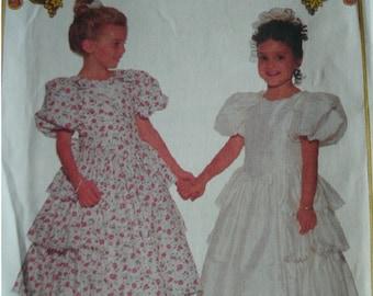 Girls Party Dress Girl Sizes 5-6-6x Butterick It's Enchanting Pattern 6608 Average Difficulty  UNCUT Pattern 1993
