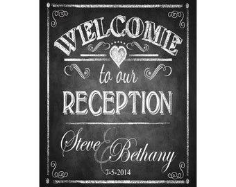 Personalized WELCOME to our RECEPTION Printable Poster - DIY - Chalkboard Style - wedding signage