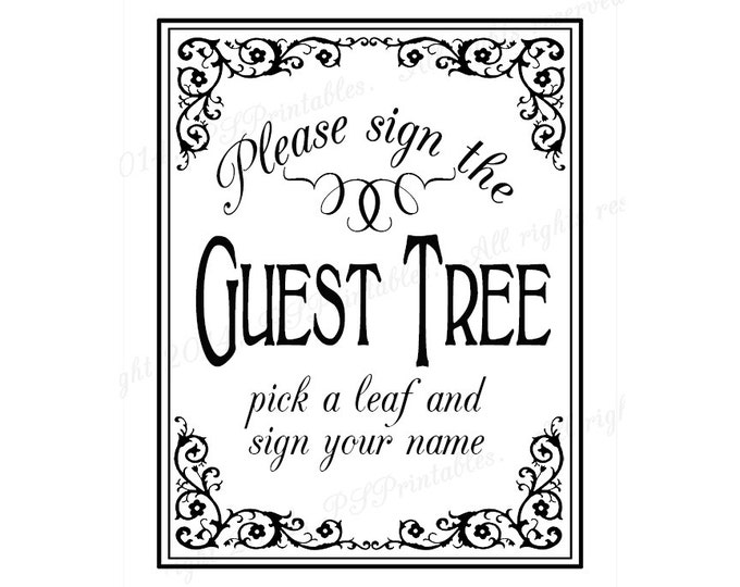 PRINTABLE Guest Tree Wedding sign - Please sign our guestbook - Traditional Black Tie design - Black White Wedding