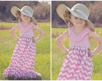 Little Girls Chevron Dress - Baby Easter Dress - Toddler Maxi Dress