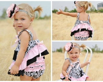 Damask Print Swing Top Set // Baby Outfit // Toddler Bloomer Outfit // Girls Outfit // Childrens Outfits