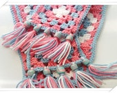 Crochet Granny Square Scarf, Women's Crochet Fashion Scarf, handmade polymer beads - Countrycutecrochet