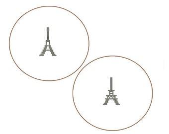 Instant Download Mini Eiffel Tower Cross Stitch Pattern set of 2 Mini Patterns wall art Paris romance love valentine card great gift