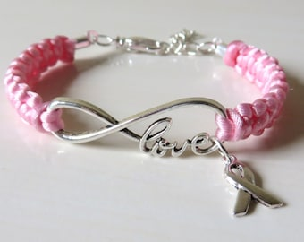 Pink Awareness Charm Bracelet w/Optional Hand Stamped Letter Charm Breast Cancer Testicular Cancer Birthparent Awareness